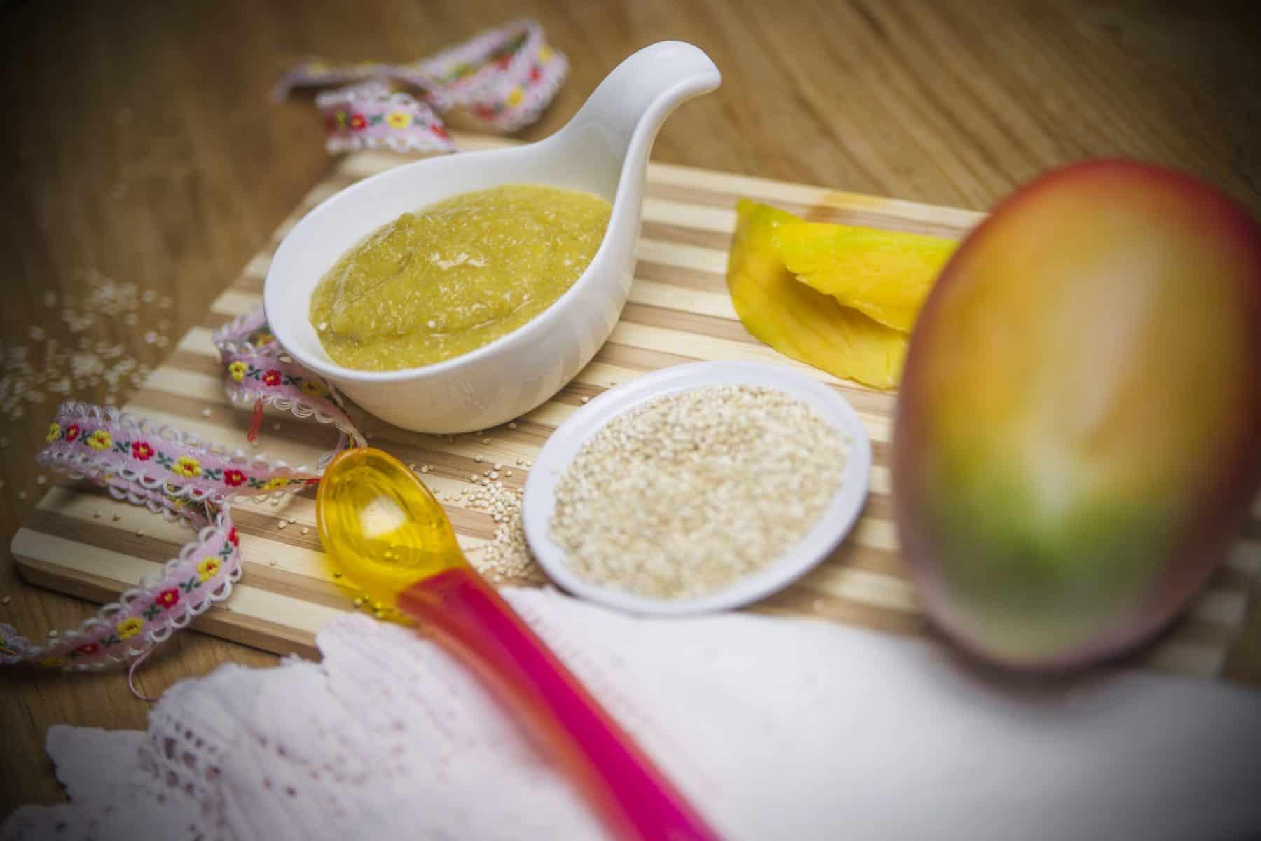 Papinha de quinoa com manga